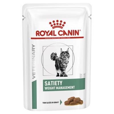 Royal Canin Veterinary Diet Feline Satiety Weight Management Pouch Wet Cat Food 85gm x 12