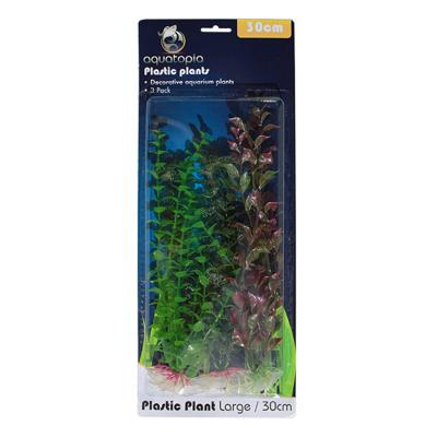 Aquatopia Natural Plastic Plants For Fish Aquarium 3 Pack Large