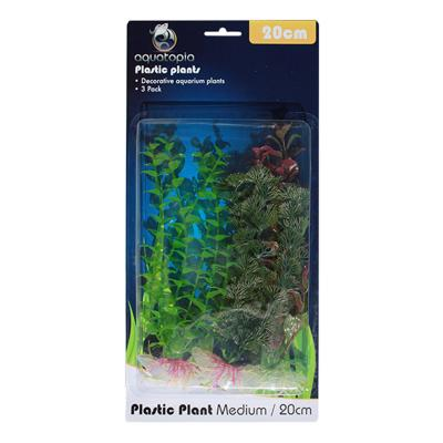 Aquatopia Natural Plastic Plants For Fish Aquarium 3 Pack Medium