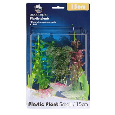 Aquatopia Natural Plastic Plants For Fish Aquarium 3 Pack Small