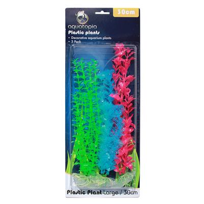Aquatopia Neon Plastic Plants For Fish Aquarium 3 Pack Large 30cm