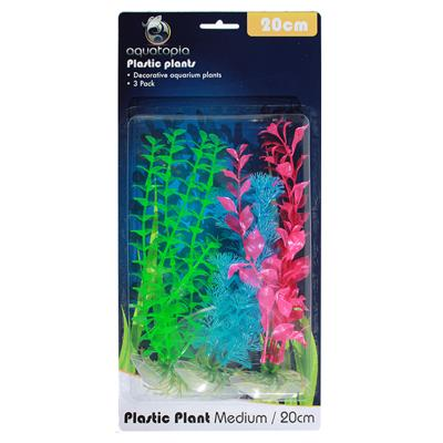 Aquatopia Neon Plastic Plants For Fish Aquarium 3 Pack Medium 20cm