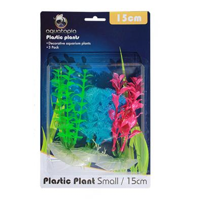 Aquatopia Neon Plastic Plants For Fish Aquarium 3 Pack Small 15cm