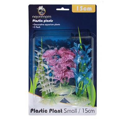 Aquatopia Pearl Plastic Plants For Fish Aquarium 3 Pack Small