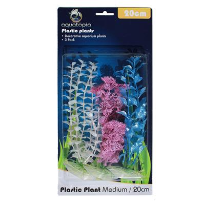 Aquatopia Pearl Plastic Plants For Fish Aquarium 3 Pack Medium