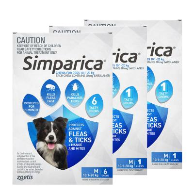 Simparica For Dogs 10.1- 20kg Blue Medium 8 Chews