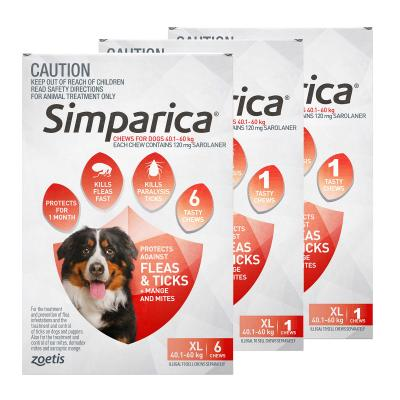 Simparica For Dogs 40.1- 60kg Red XLarge 8 Chews