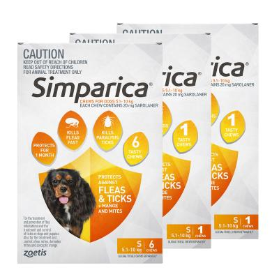 Simparica For Dogs 5.1-10kg Orange Small 8 Chews