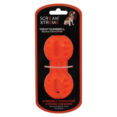 Scream Xtreme Dumbbell Loud Orange Small Treat Dispenser Water Toy For Dogs