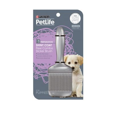 Petlife Step 1 Shiny Coat Flexi Head Combo Slicker Brush For Puppies