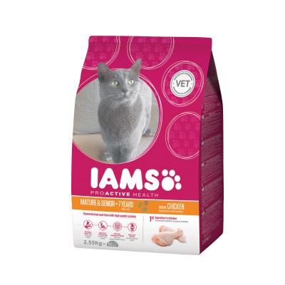 Iams Chicken For +7 Years Adult/Mature Dry Cat Food 2.55kg