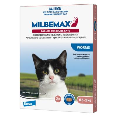 Milbemax Allwormer For Cats 0.5 - 2kg 2 Tablets