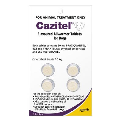 Cazitel Allwormer For Dogs 10kg 4 Tablets