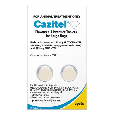 Cazitel Allwormer For Dogs 35kg 2 Tablets