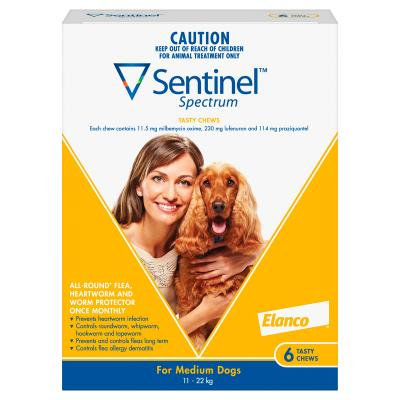 Sentinel Spectrum For Dogs 11-22kg Yellow 6 Pack