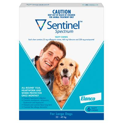 Sentinel Spectrum For Dogs 22-45kg Blue 6 Pack