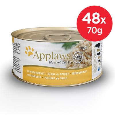 Applaws Chicken Breast Adult Canned Wet Cat Food 70g x 48