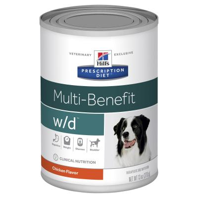 Hills Prescription Diet Canine w/d Multi Benefit Chicken Canned Wet Dog Food 370gm x 12 (7017)