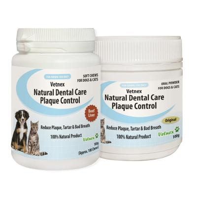 Vetnex Natural Dental Care Original Powder With Beef Liver Chews Pack For Dogs And Cats