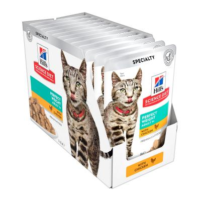 Hills Science Diet Perfect Weight Chicken Adult 1+ Pouches Wet Cat Food 85gm x 12