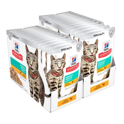 Hills Science Diet Perfect Weight Chicken Adult 1+ Pouches Wet Cat Food 85gm x 24