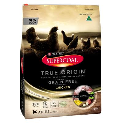 Supercoat True Origin Grain Free Chicken Dry Food For Adult Dogs 7kg