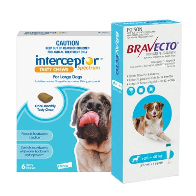 Interceptor Spectrum For Dogs 22-45kg Blue 6 Chews With Bravecto Spot On For Dogs Blue 20-40kg Single