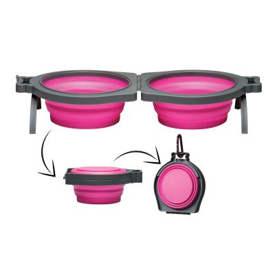 Loving Pets Bella Roma Double Diner Silicone Travel Bowl Pink Medium For Cats And Dogs