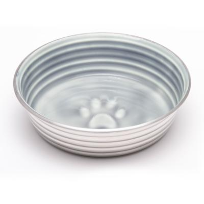 Loving Pets Le Bol Bowl Non Skid Stainless Steel Parisian Grey XSmall For Dogs And Cats