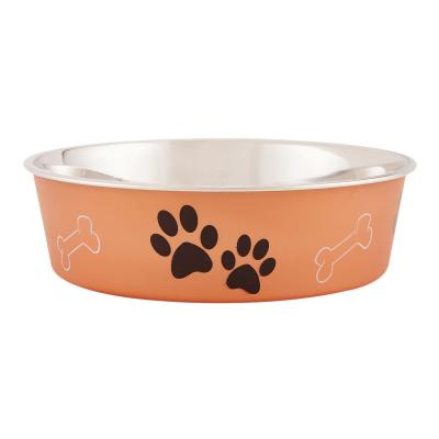 Loving Pets Bella Bowl Non Skid Stainless Steel Copper Medium For Dogs 750ml