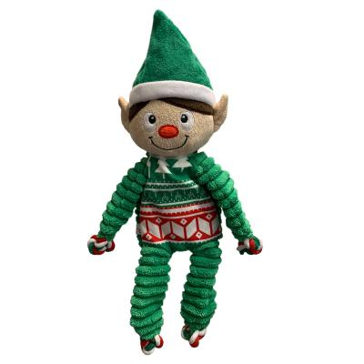KONG Holiday Christmas Floppy Knots Elf Medium Squeak Toy For Dogs