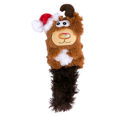 KONG Holiday Christmas Kickeroo Reindeer Catnip Crinkle Plush Toy For Cats