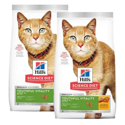 Hills Science Diet Youthful Vitality Chicken And Rice 7+ Mature/Senior Dry Cat Food 5.44kg