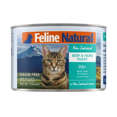 Feline Natural Grain Free Beef And Hoki Feast Canned Wet Meat Cat Food 170gm x 24