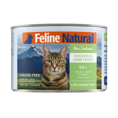 Feline Natural Grain Free Chicken And Lamb Feast Canned Wet Meat Cat Food 170gm x 24