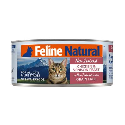 Feline Natural Grain Free Chicken And Venison Feast Canned Wet Meat All Life Stages Cat Food 85gm x 24