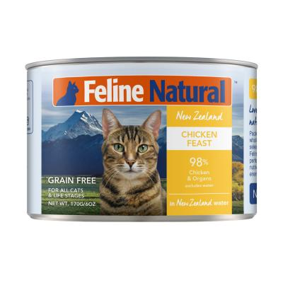 Feline Natural Grain Free Chicken Feast Canned Wet Meat Cat Food 170gm x 24