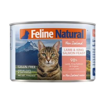 Feline Natural Grain Free Lamb And King Salmon Feast Canned Wet Meat Cat Food 170gm x 24