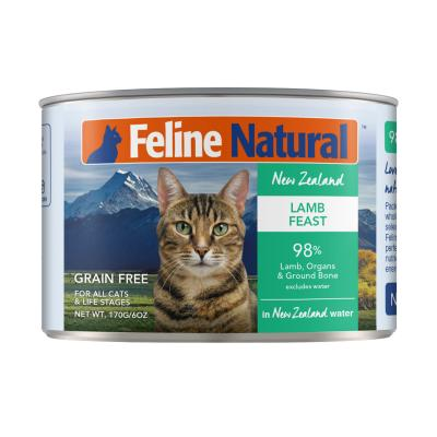 Feline Natural Grain Free Lamb Feast Canned Wet Meat Cat Food 170gm x 24