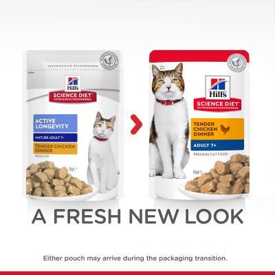 Hills Science Diet Active Longevity Chicken Mature/Senior 7+ Pouches Wet Cat Food 85gm x 48