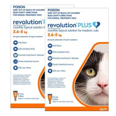 Revolution Plus For Medium Cats 2.6-5kg 4 Pack
