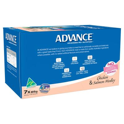 Advance Chicken And Salmon Kitten 2-12 Months Canned Wet Cat Food 85gm x 7