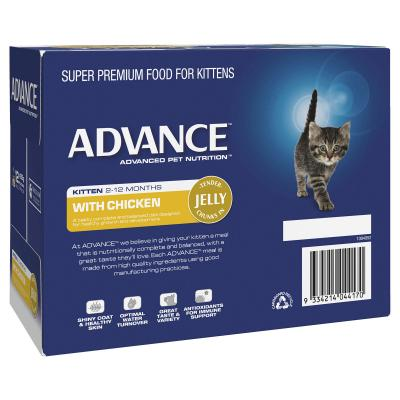 Advance Chicken In Jelly Kitten 2-12 Months Pouches Wet Cat Food 85gm x 12