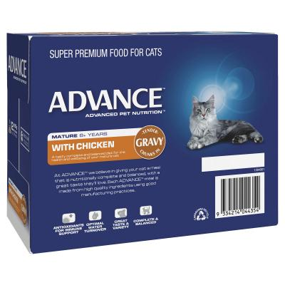 Advance Chicken With Gravy Mature 8+ Years Pouches Wet Cat Food 85gm x 12