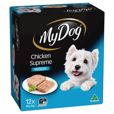 My Dog Chicken Supreme Meaty Loaf Adult Tray Canned Wet Dog Food 100gm x 12