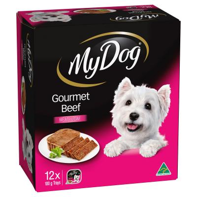 My Dog Gourmet Beef Meaty Loaf Adult Tray Canned Wet Dog Food 100gm x 12