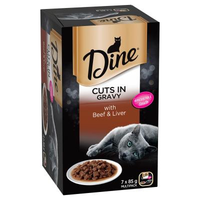 Dine Cuts in Gravy Beef And Liver Adult Canned Tray Wet Cat Food 85gm x 7