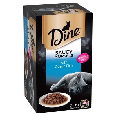 Dine Saucy Morsels Ocean Fish Adult Canned Tray Wet Cat Food 85gm x 7