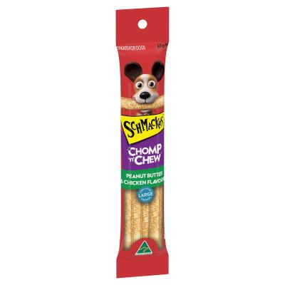 Schmackos Chomp N Chew Peanut Butter Chicken Large Single Treat For Dogs 60gm