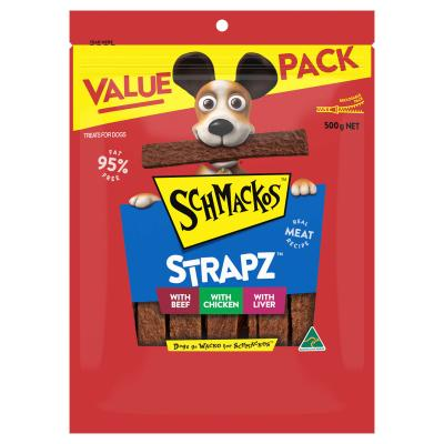 Schmackos Strapz Variety Pack Beef Chicken And Liver Treats For Dogs 500g